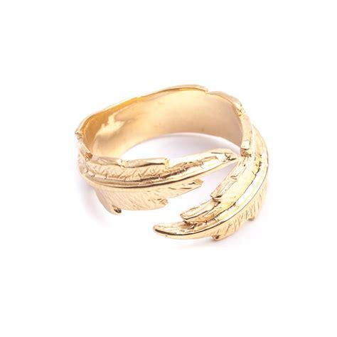 feather pinky midi ring gold leivankash jewellery