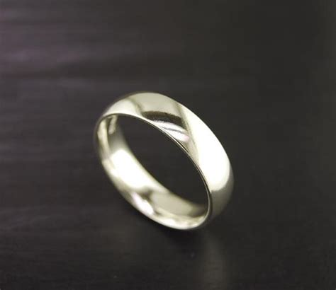 half plain comfort fit silver ring band by