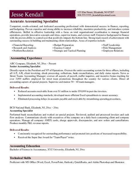 Accounting Resume Template by Accountant L Picture Accountant Cv Exle