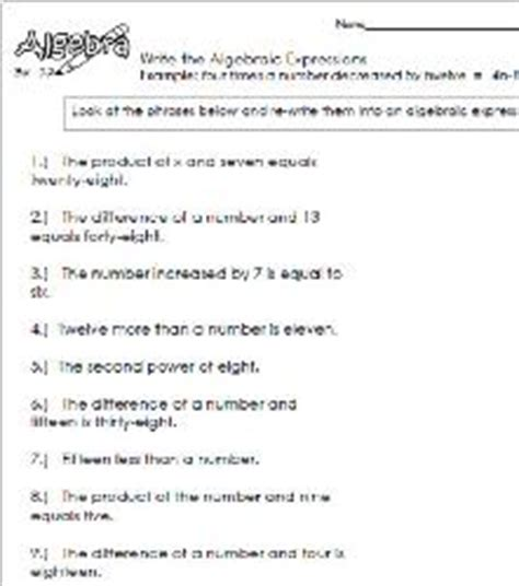 Writing Algebraic Equations From Word Problems Worksheet by Math Worksheets For Algebraic Expressions Using The