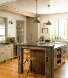 reclaimed barn wood kitchen island at home on the range