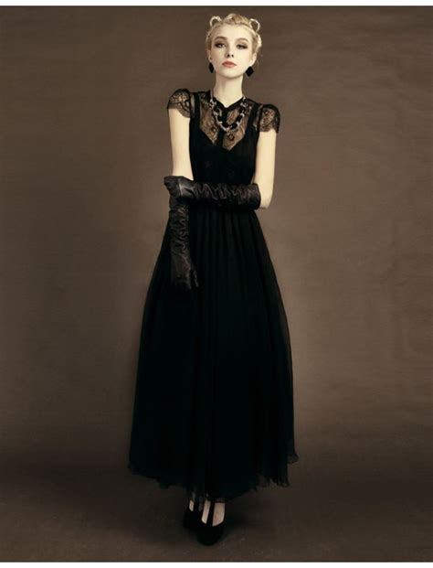 Trend Black Lace Goes Chic by Black Vintage Style Lace Prom Dress