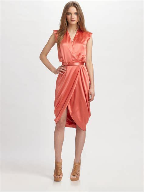 Mcqueens Draped Silk Dress As Seen On Liu And Miller by Mcqueen Silk Surplice Draped Dress In Pink