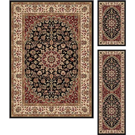 6477 Black Gold 1 Set 3 Pc black gold 3 set elegance area rug
