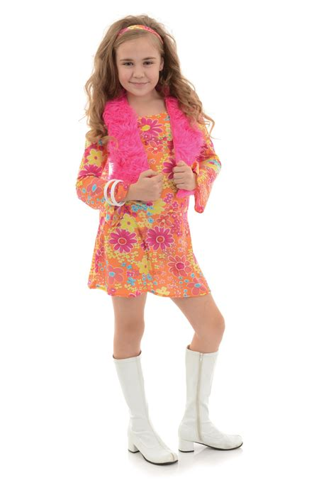 girls flower power hippie costume halloweencostumescom girl s flower power 70 s costume