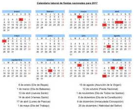 Calendario De Dias Festivos El Calendario Laboral Para 2017 Contar 225 Con 12 D 237 As