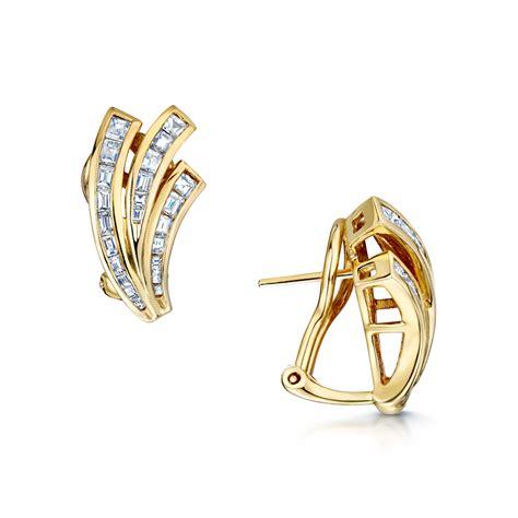 Fan Shape Earring 18ct yellow gold baguette cut fan shape earrings