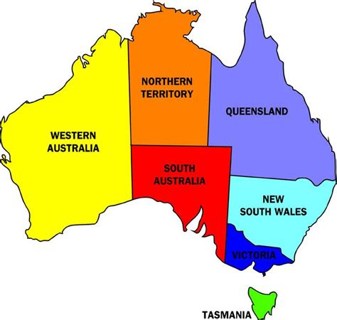 map of australia with states australia map showing the states and territories
