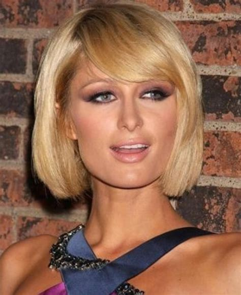 short bobs hairstyle with side swoop paris hilton hairstyles short bob with side swept bangs
