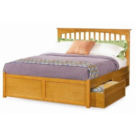 Bed Frame Cl Atlantic Furniture Platform Bed With Flat Panel Footboard In Caramel Latte Ap90x2007