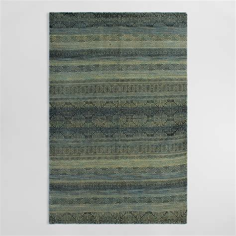 Woven Area Rugs Blue Woven Wool Nasim Area Rug World Market