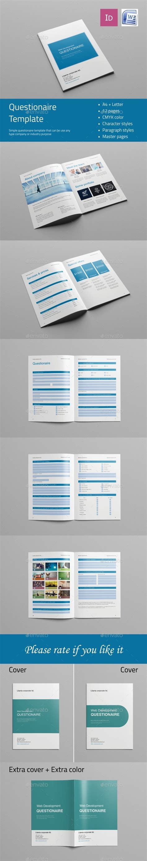 indesign template questionnaire web design questionnaire template indesign indd design