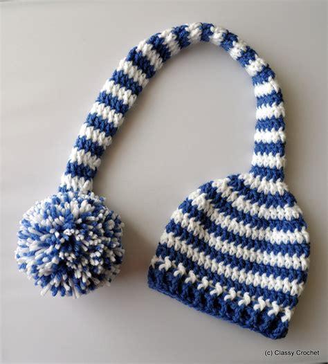 free pattern elf hat free pattern crochet elf striped pixie hat classy crochet