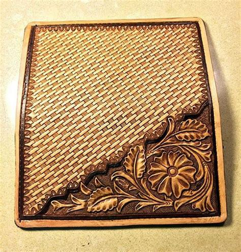 leather tooling wallet pattern hand tooled sheridan style basket sted leather roper