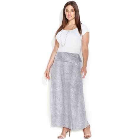 calvin klein plus size snakeskinprint maxi skirt in gray