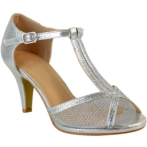 womens wedding bridal shoes prom high heel diamante