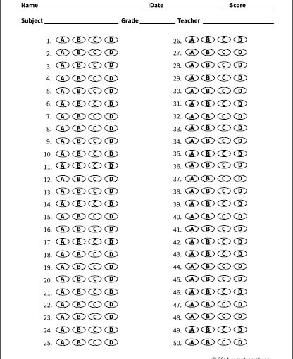 50 question answer sheet template new 50 question answer sheet template free template design