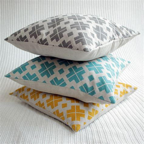 yellow pattern cushion covers saffron yellow patterned linen cushion cover by silk