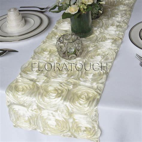 rosette table runner ivory satin ribbon rosette wedding table runner