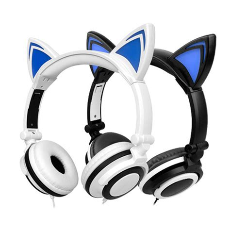 headphones with light up cat ears foldable flashing glowing headphone cat ear stereo