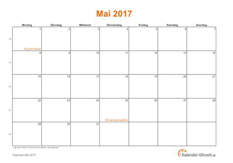 Mai 2018 Kalender Mai 2017 Kalender Mit Feiertagen