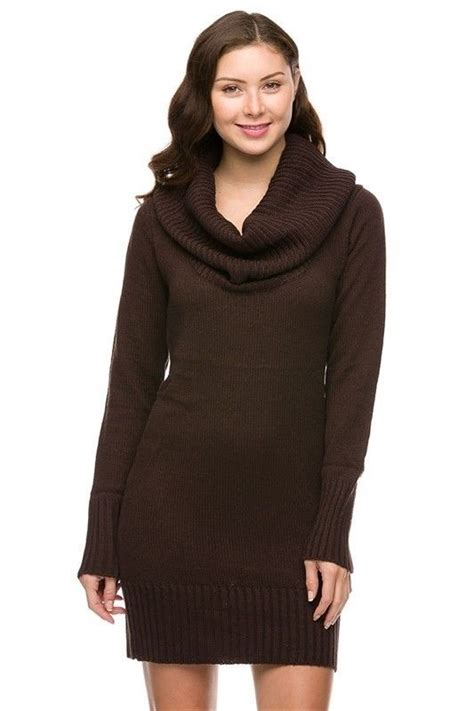 Brown Cowl Neck Knit Sweater 15819 Brown Brown Cowl Neck Knit Sweater Dress Sleeves