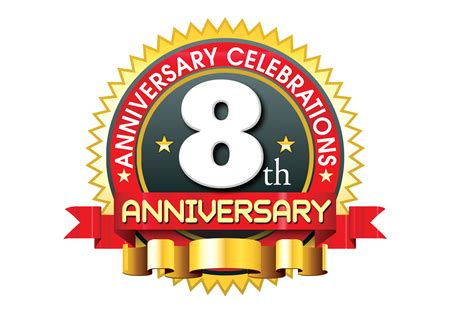 8th anniversary ping logo template in the round label