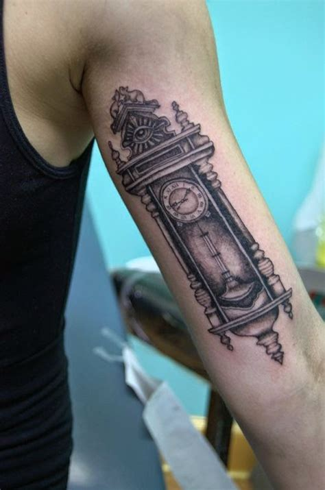 grandpa tattoos designs grandfather clock chest
