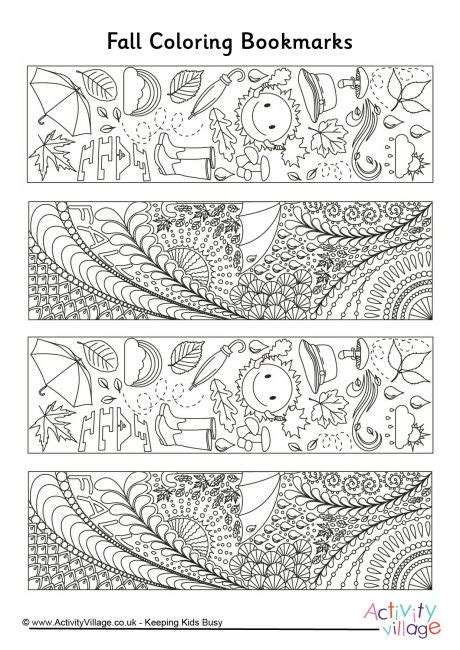 Printable Autumn Bookmarks To Color | fall doodle colouring bookmarks