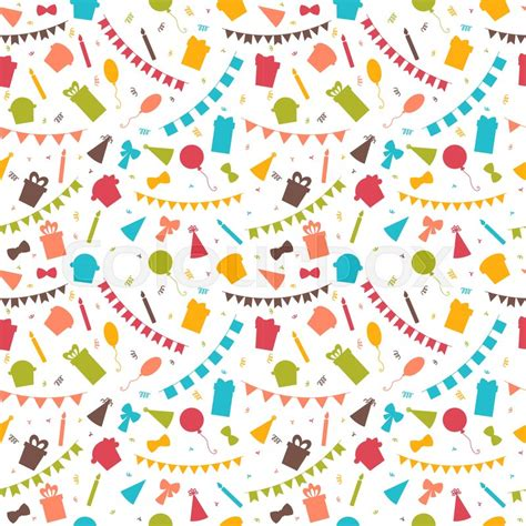 happy birthday seamless pattern with colorful elements balloons gifts flags confetti