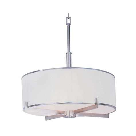Modern White Nickel Drum Shade Mid Century Modern Pendant Light Satin Nickel Nexus By