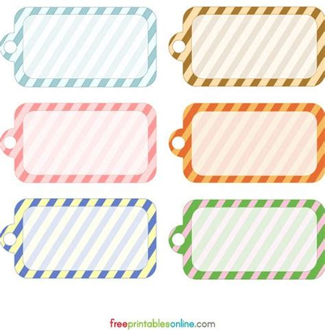 Blank Printable Simple Stripes Gift Tag Template Free Printables Online Free Tags Templates