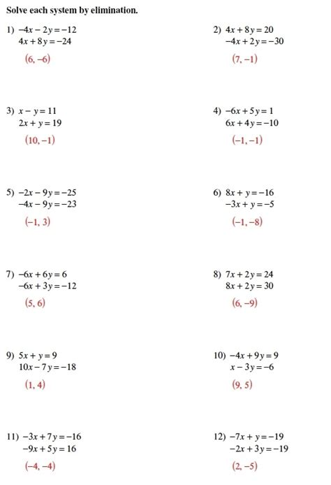 System Of Equations Worksheets by Solving System Of Equations By Substitution Worksheet