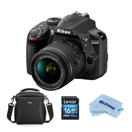 nikon d3400 dslr with 18 55mm dx vr lens, black with