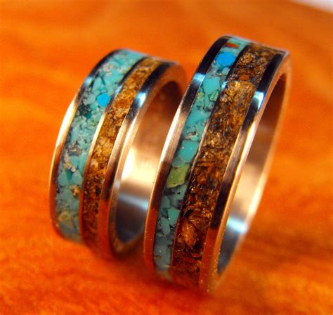 Wedding Bands With Stones by Titanium Rings Wedding Rings Turquoise Rings Tigers Eye