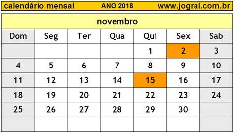 Calendario Mensal Para Imprimir Calend 225 Mensal Novembro De 2018 Imprimir M 234 S De