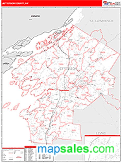jefferson county zip code map jefferson county ny zip code wall map line style by