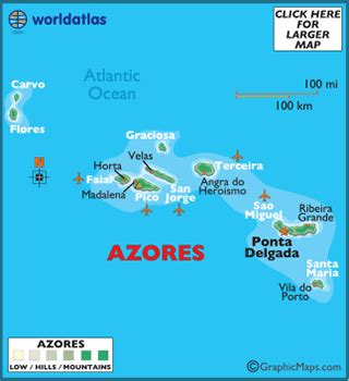 map of azores european maps, europe maps azores map