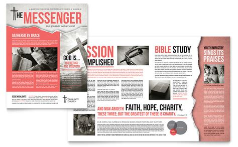 Bible Church Newsletter Template Design Free News Bulletin Templates