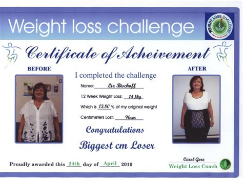 loser certificate template weight loss challenge