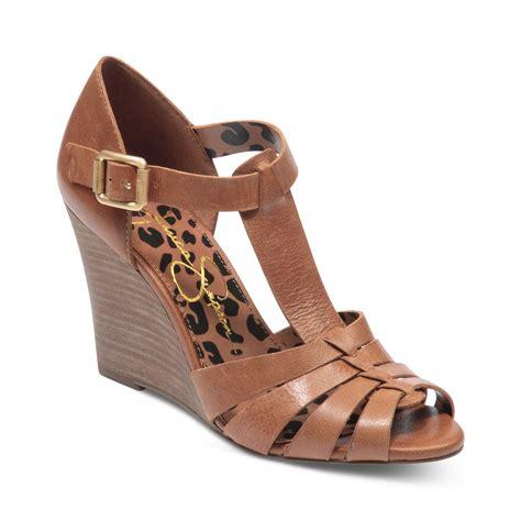 lyst jessica simpson rebi tstrap wedge sandals  brown
