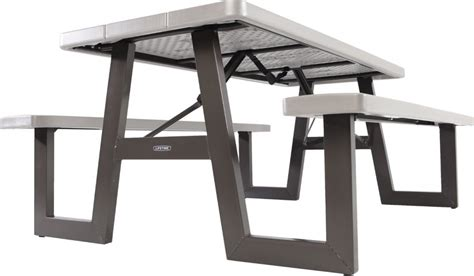 lifetime 6 ft folding picnic table with benches lifetime 60030 w frame 6 foot folding picnic table bench