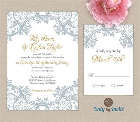 Gray And Gold Wedding Invitations