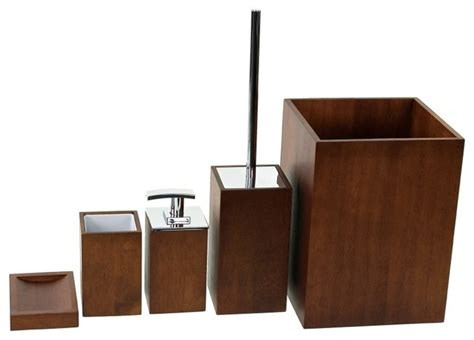 wooden 5 brown bathroom accessory set