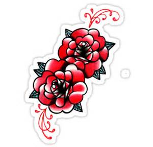 Black Bird Wall Stickers quot traditional rose tattoo flash design quot stickers by