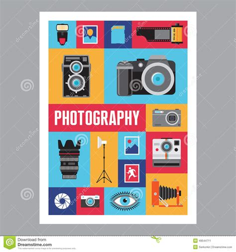 flat layout photography photography mosais flat design poster vector icons set