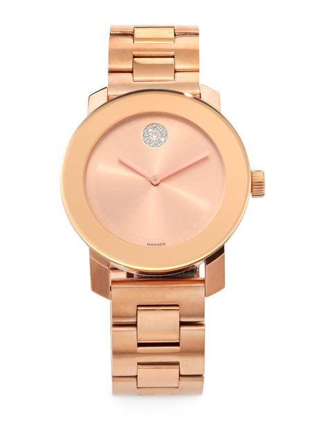 Movado Bold Rose Goldtone Ip Stainless Steel Bracelet Watch in Gold (ROSE GOLD DIAMOND)   Lyst
