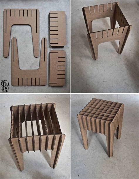 chair template made out of cards our cardboard stool by arquimana on etsy