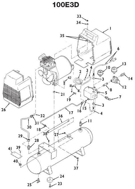 devilbiss model 100e3d free air compressor replacement parts breakdown repair kits