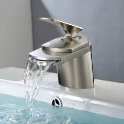 basin sink waterfall faucet brass in brushed nickel